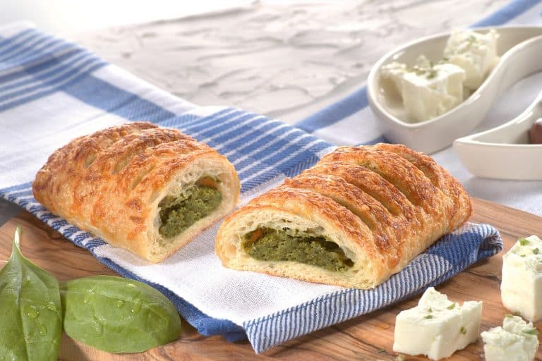 spinach and feta filled strudel