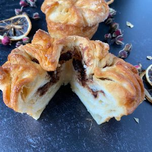 kouign amann pastry filled with chocolate